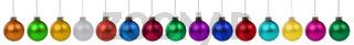 Weihnachten Weihnachtskugeln Kugeln Farben bunte Dekoration in einer Reihe Freisteller