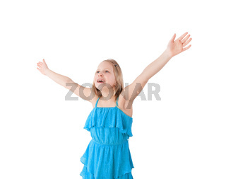 happy girl with arms up