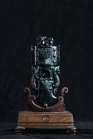 Chinese ancient jade carving art on a black background