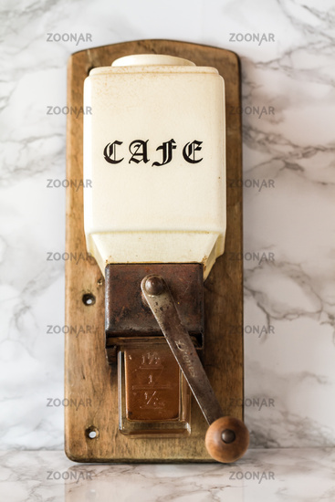 Old Manual Wooden Coffee Grinder Machine