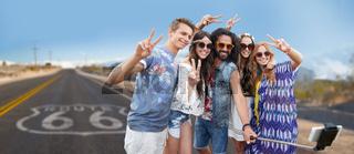 hippie friends taking selfie over us route 66