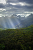 Fiordland national park stormy landscape, New Zealand