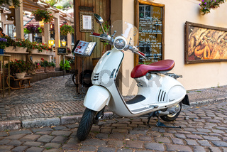 Vintage white scooter