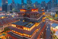 Singapore city skyline with view of Buddha Tooth Relic Temple at night in Singapore
