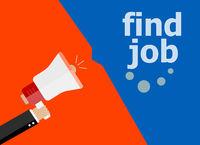 find job. Hand holding a megaphone. flat style
