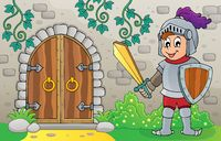 Knight by old door theme image 1
