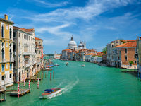 View of Venice Grand Canal and Santa Maria della Salute church on sunset