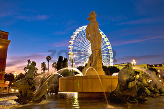 City of Nice Place Massena square and Fountain du Soleil evening view