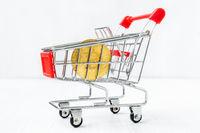Shopping cart with Bitcoin coin
