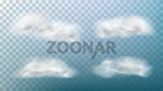 Realistic Clouds Vector. Isolated On Transparent Background Illustration