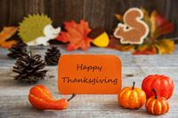 Label With Autumn Decoration, Text Happy Thanksgiving