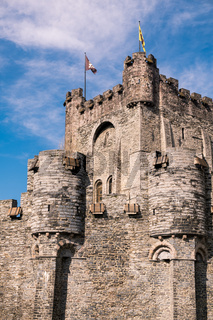 Tower medieval Castle of the Counts (Gravensteen) in Ghent, Belgium
