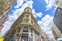MADRID, SPAIN - MAY 15, 2018: Building with shops at Alcala street in city of Madrid, Spain
