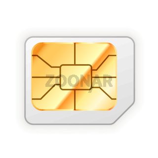 Blank micro sim card for phone with golden glossy chip on white