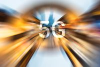 5G on a radial blurred background