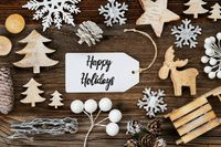One Label, Frame Of Christmas Decoration, Text Happy Holidays