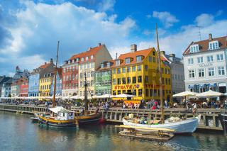 Tourist Nyhavn boats harbour Copenhagen