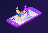 Isometric mobile phone illustration. Hockey vector illustration.