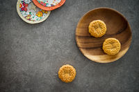 Mid-Autumn Festival Moon cakes with copy space on low light background