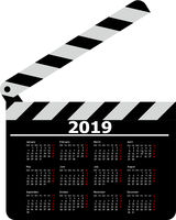 Calendar for 2019, movie clapper board on a white background