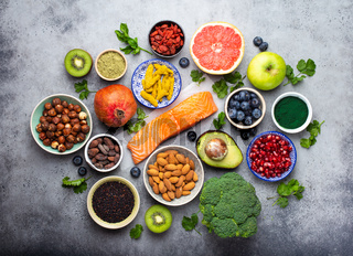 Various superfoods selection