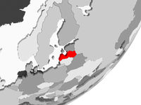 Latvia in red on grey map