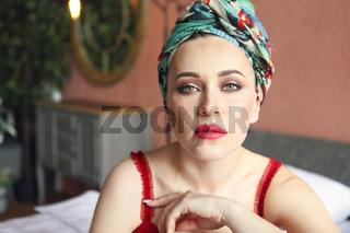 Young beautiful woman in turban