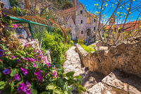 Mediterranean old stone steret in Omis view