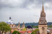 The Oxford skyline as seen from the top of Carfax Tower. Oxford University. England