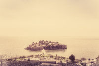 Sveti Stefan old town in sepia