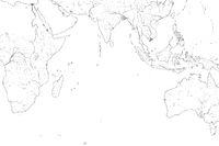 World Map of INDIAN OCEAN: Erythraean Sea, Madagascar, Ceylon, Bengal, India, Africa, Australia, Indonesia. Geographic chart.