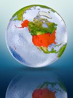 USA on globe