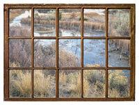 fall scenery of wetlands -window view