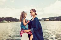 Mother and daughter at Xuan Huong Lake, Dalat, Vietnam
