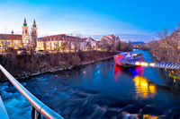 City of Graz Mur river and island evening view