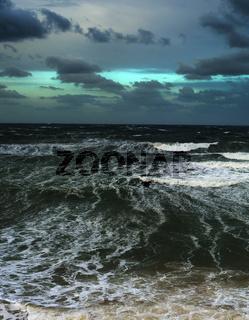 Strom ocean clouds wave danger