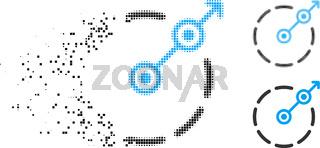 Dissolving Pixelated Halftone Round Area Exit Icon