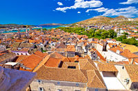 Landmarks and rooftops of Trogir aerial view