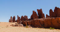 Abstract Rock formation at plateau Ennedi aka stone forest in Chad