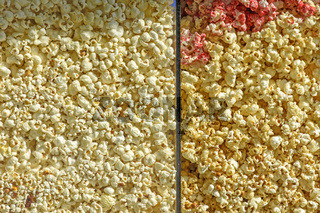 Grains of sweet and salty popcorn in a window