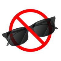 Sunglasses not allowed, red forbidden sign on white