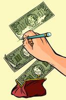 Money falls into the purse. Counterfeiter draws money dollars