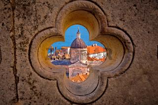 Dubrovnik landmarks view through stone carved detail