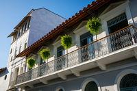 beautitful facade,  building exterior in old town - Casco Viejo, Panama City,