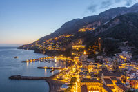 Evening view of Amalfi town, Italy