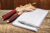 blank spiral sketchbook with decorative corn