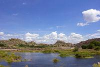 Tungabhadra river, Hampi, Karnataka, India.