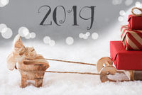 Reindeer With Sled, Silver Bokeh Background, Text 2019