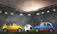 Spain and Russia cars on football stadium