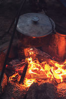 guitar near the campfire